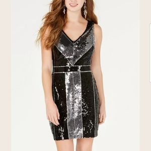 B. Darlin Black Silver Sequin Party Dress size 3/4